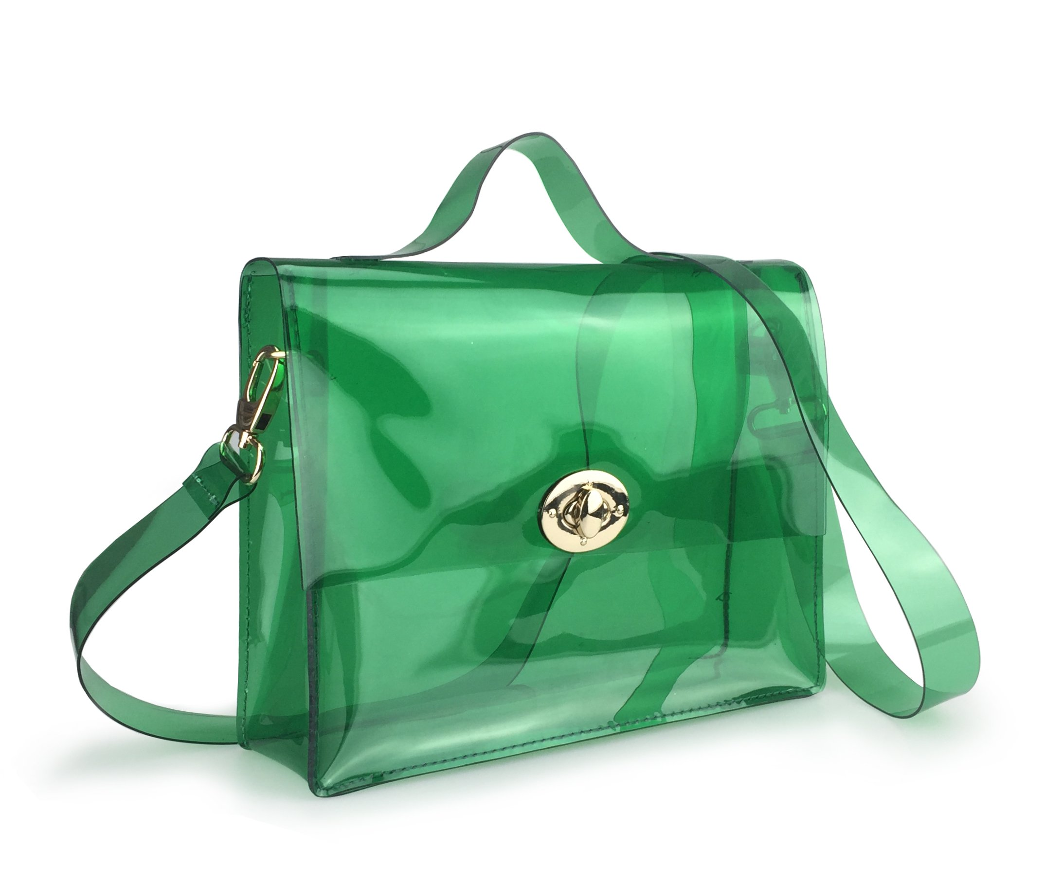 Clear Bag with Turn Lock Closure Cross Body Bag Women's Satchel Transparent Messenger Shoulder Handbag (Green) by Hoxis (Image #2)