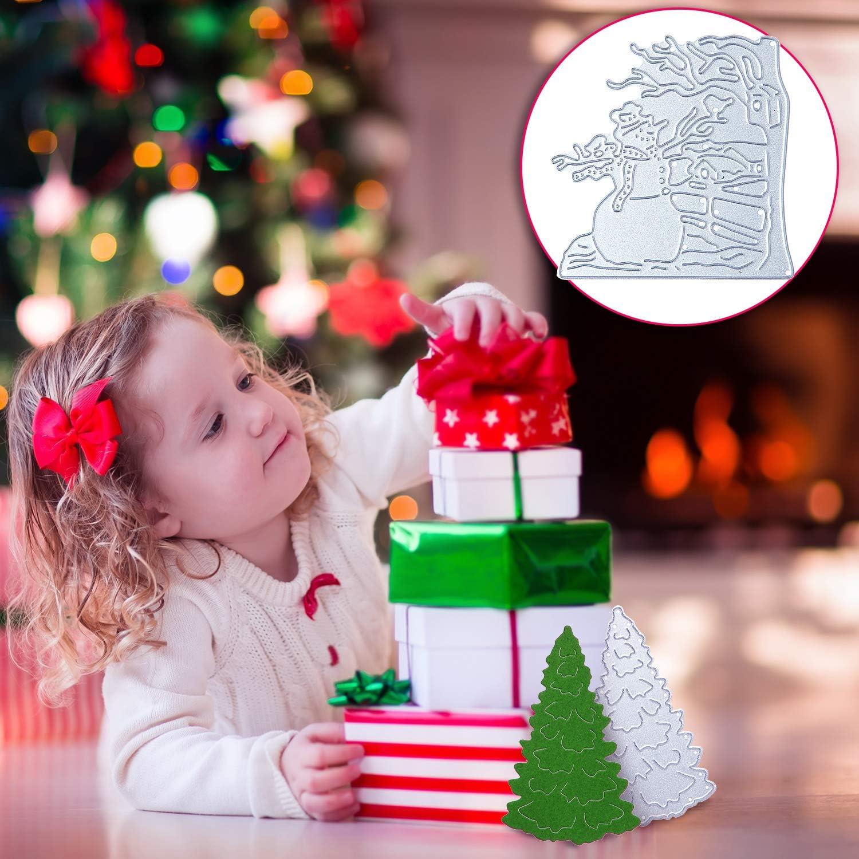 7 Troqueles de Adorno de Navidad Plantillas en Relieve Navide/ñas de Metal Troquel de Corte de /Árbol de Navidad Copo de Nieve Mu/ñeco de Nieve Ciervo Troquel de Capa de Fondo para /Álbum de Recortes DIY