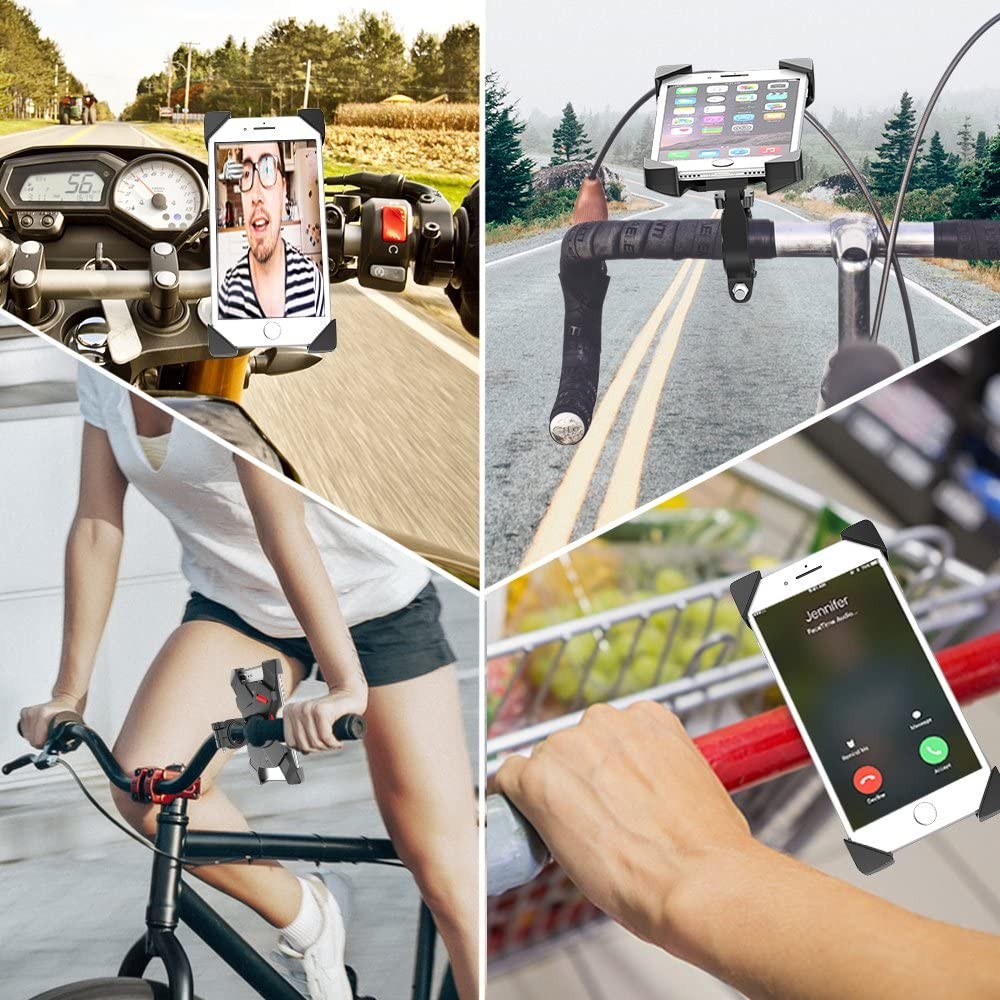 Universal Adjustable Bicycle Motorcycle Phone Holder Cradle Clamp for iPhone X//XR//XS MAX//8//7//6 Plus Samsung Galaxy S10//S10e//S9//S8 Plus and Most 3.5-6.5 Smart Phones Bovon Bike Phone Mount