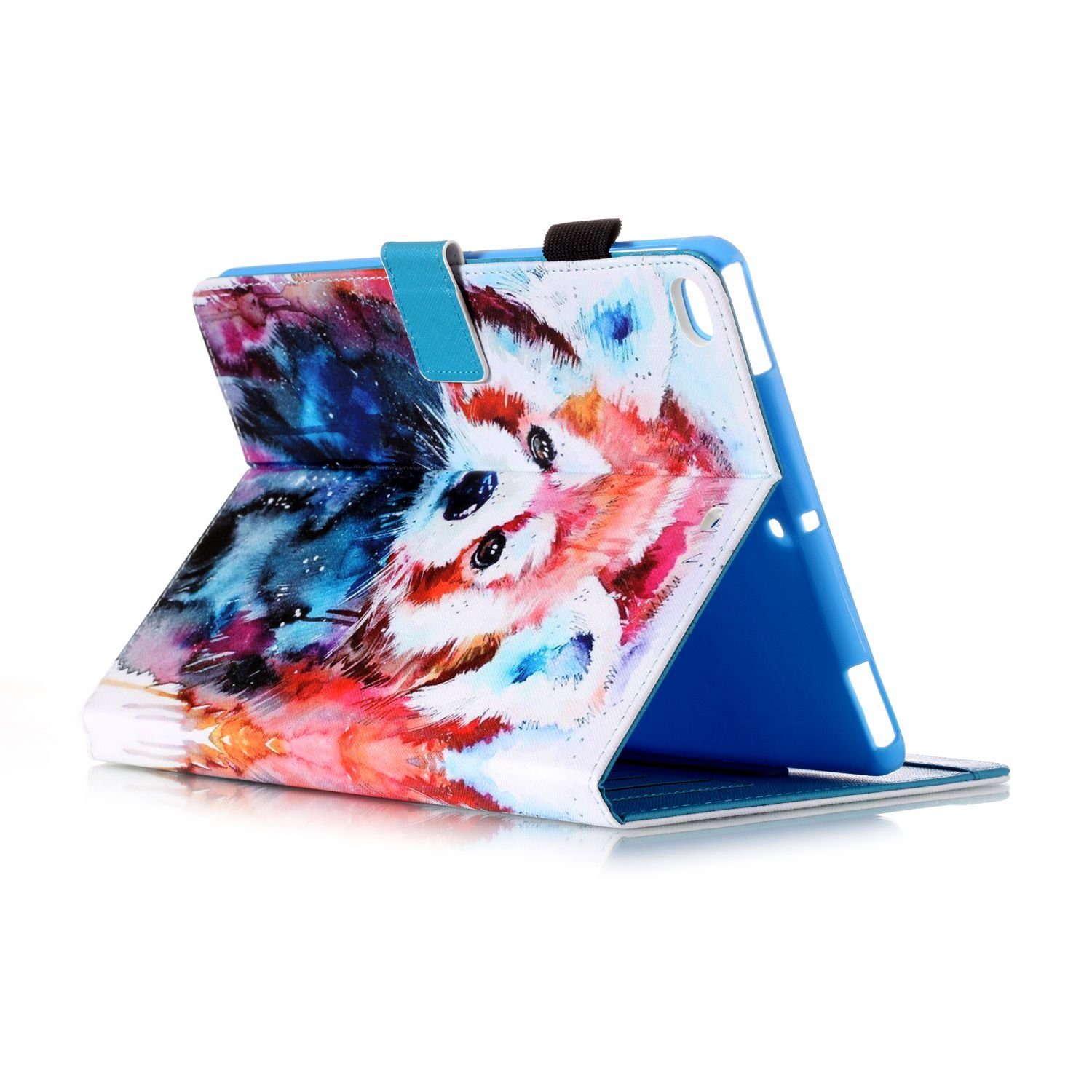New iPad Case Smart Leather Case - UNOTECH Card Slot Protective Case with Pen Holder Wake/Sleep Function for New iPad 9.7 Inch 2017,iPad Air 1 2, Leopard Cat by UNOTECH (Image #4)