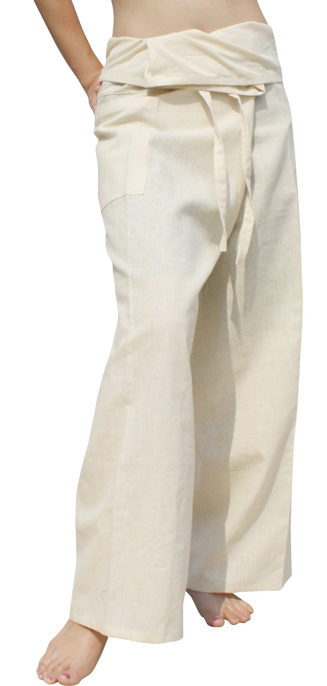 Raan Pah Muang High Grade Chinese 55% Hemp 45% Cotton Thai Fisherman Wrap Pants, X-Large, Ivory Cream by Raan Pah Muang