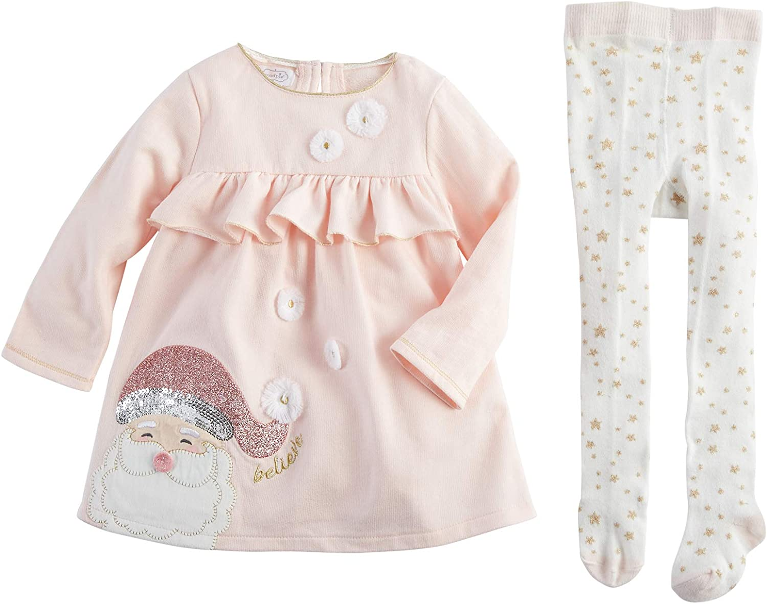 Mud Pie Kids Glitter All The Way Christmas Santa Pink Dress and Tights