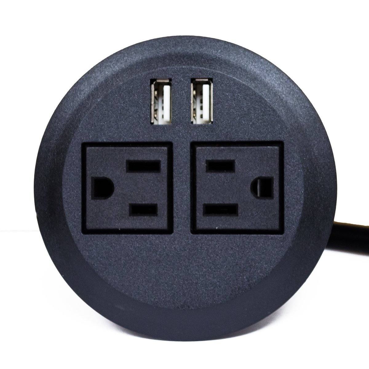 ApexDesk UL Certified Power Grommet (Black - Two Power Outlets, Two USB Ports) by ApexDesk