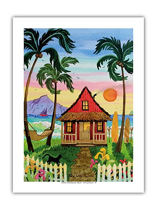 Hati de rojo cabaña – Caseta de playa tropical – Hawaii – las Islas de Hawaii