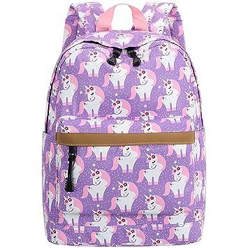 af0af2ba0033 Preschool Backpack for Kids Girls Toddler Backpack Kindergarten School  Bookbags (Cute unicorn-Purple)