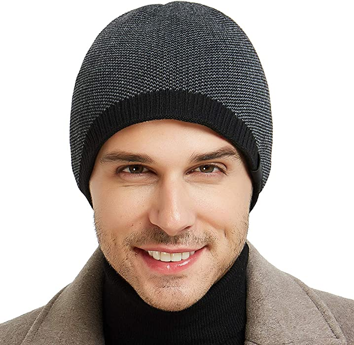 fe70aa46c45 Mens Winter Warm Knitting Hats Plain Skull Beanie Cuff Toboggan Knit Cap 4  Colors