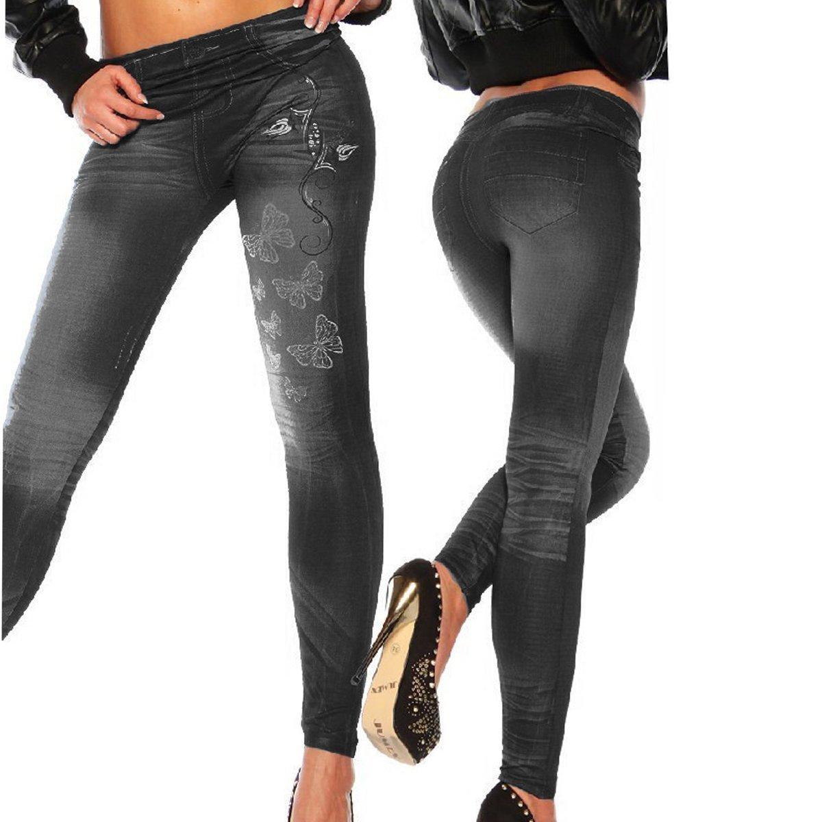 Mallas para mujer de vaquero sintético, ajustados, leggings, jeggings, elásticos, de HugeStore azul azul de HugeStore azul azul