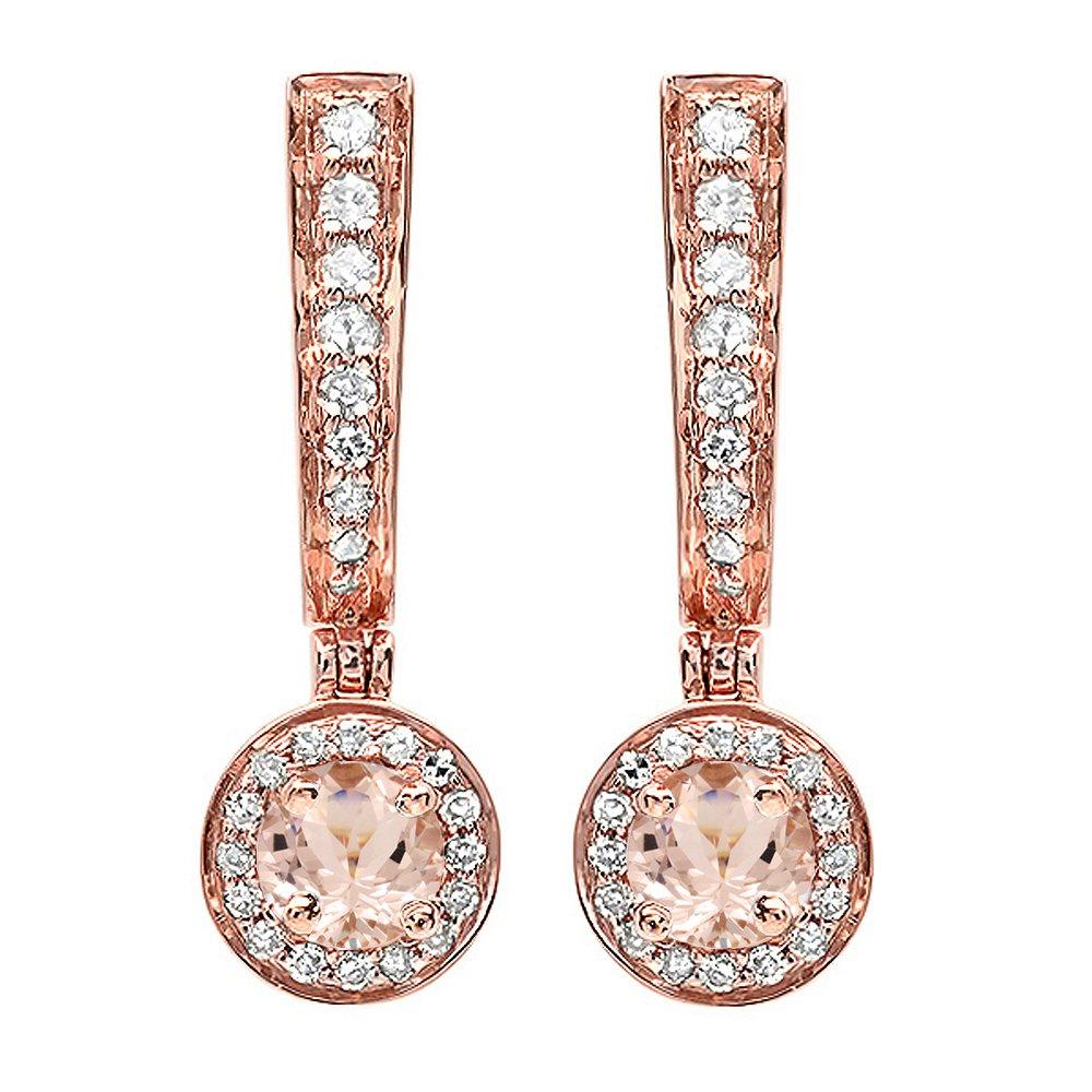 14K Rose Gold Round Morganite & White Diamond Ladies Fine Dangling Drop Earrings