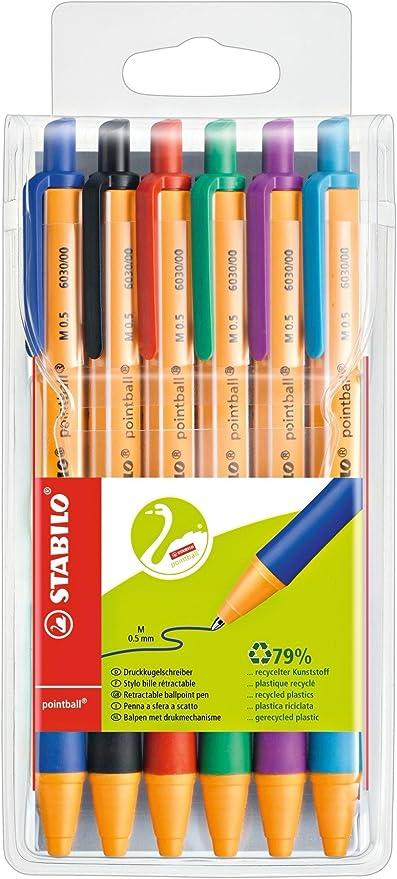 STABILO pointball - Bolígrafo retráctil ecológico recargable, estuche con 6 colores: Amazon.es: Oficina y papelería