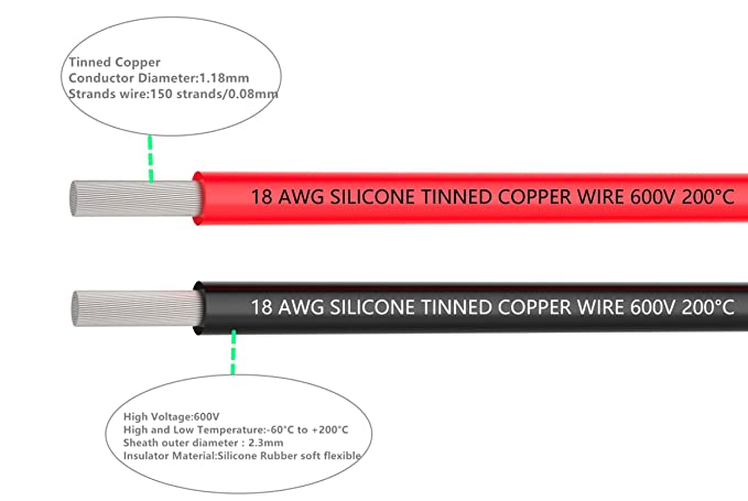 18 gauge electrical wire 18 awg silicone wire hook up wire cable 18 gauge electrical wire 18 awg silicone wire hook up wire cable 10 ft black and 10 ft red soft and flexible 150 strands 008mm of tinned copper wire keyboard keysfo Image collections