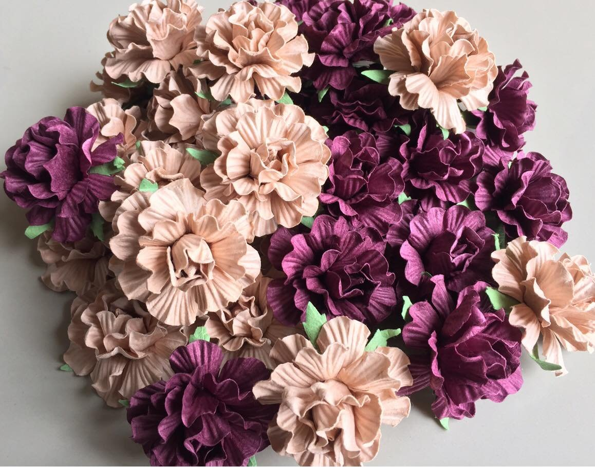 20 pcs Big Rose Purple Wine and Cream Colors Mulberry Paper Flower 40mm Scrapbooking Wedding Doll House Supplies Card