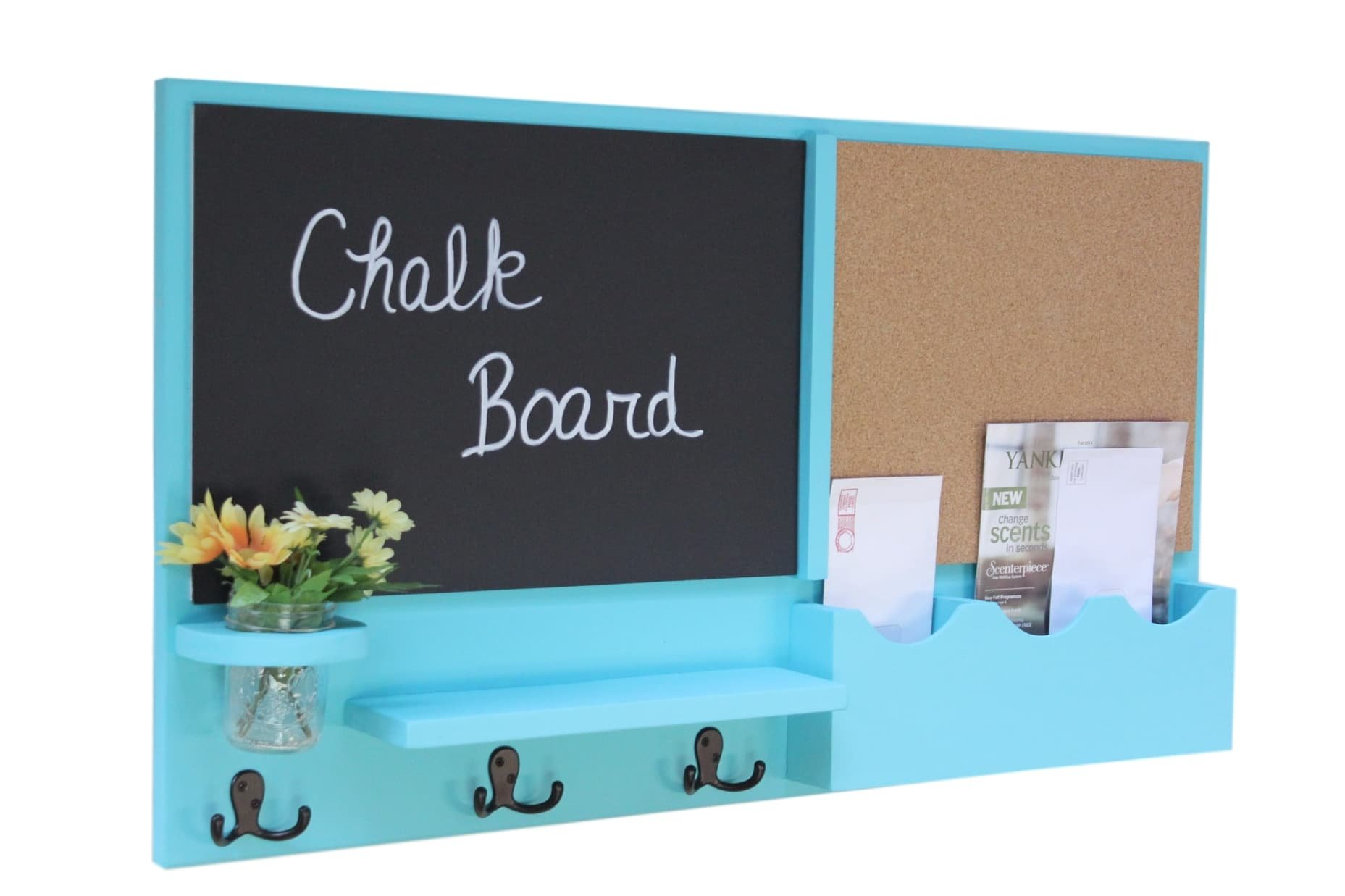 Legacy Studio Décor Message Center with Chalkboard Cork Board Mail Organizer Key Hooks Coat Hooks Mason Jar (Smooth, Turquoise)