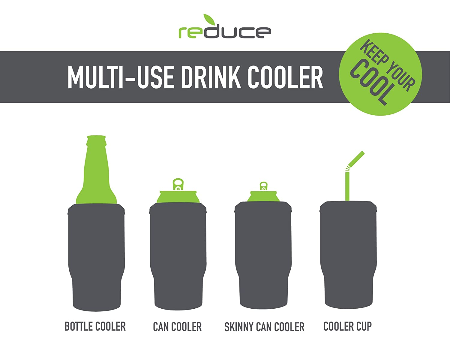 REDUCE Insulated Can Cooler and Bottle Holder – This Stainless Steel Drink Cooler Keeps Cans, Skinny Cans and Bottles Ice Cold – Sweat-Free, Perfect for Tailgating and Parties – Cacti Green 51xeRiawLNL