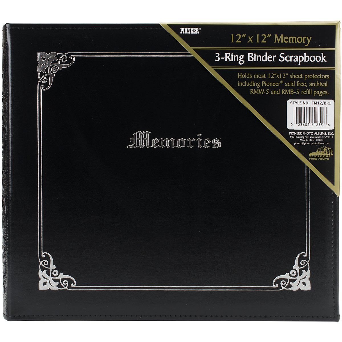 Pioneer Photo Albums TM-12 12 by 12-Inch 3-Ring Italian Memory Binder, Black