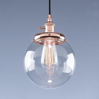 Phansthy Vintage Industrial Pendant Light Retro Warehouse Light Fixture E26 Globe Clear Glass Shade Hanging Light Lamp for Loft Kitchen Coffee Bar