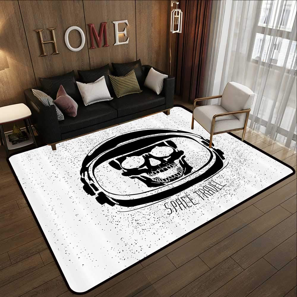 Pattern07 71 x 81.5 (W180cm x L210cm) Floor mat,Skull Decor,Skulls Different Expressions Evil Face Crowned Death Monster Halloween,Sand Brown Yellow 63 x 94  Indoor Outdoor Rubber Mat