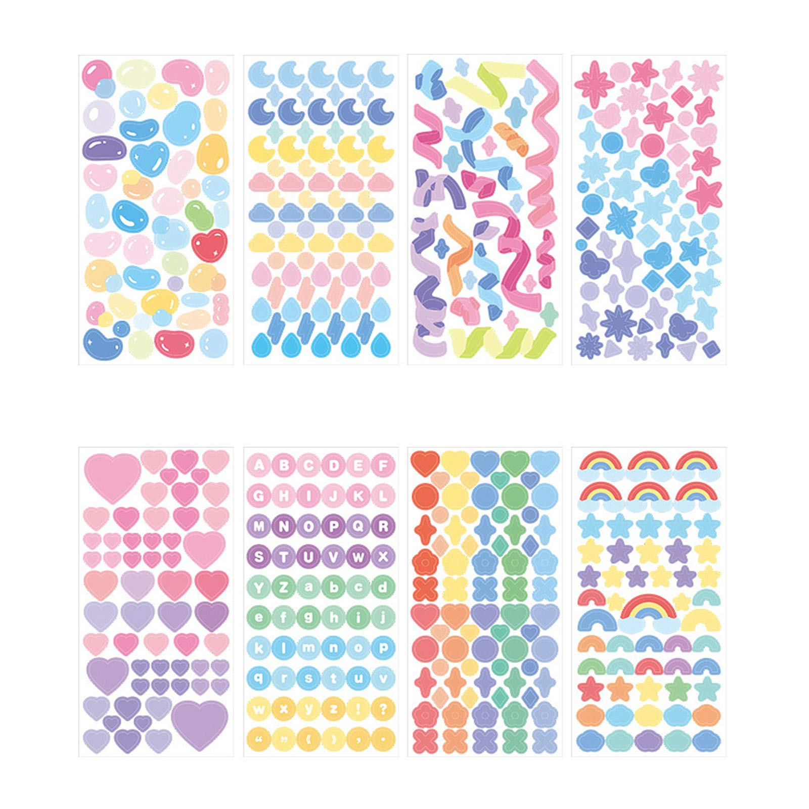 DENALY 8 Sheets Hyun-chae Letter Alphabet Sticker Self Adhesive Love Stickers for Arts Craft Greeting Cards Scrap Books Home Decoration DIY Deco Stickers (Sticker-8 Style)