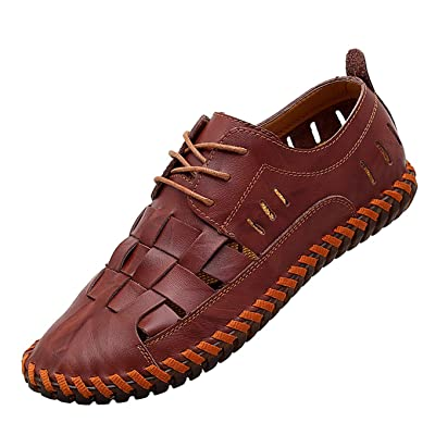 Moodeng Men`s Closed Toe Leather Sandals Sport Outdoor Sandals Summer Lace up Shoes Causal Fisherman Shoes   Sandals