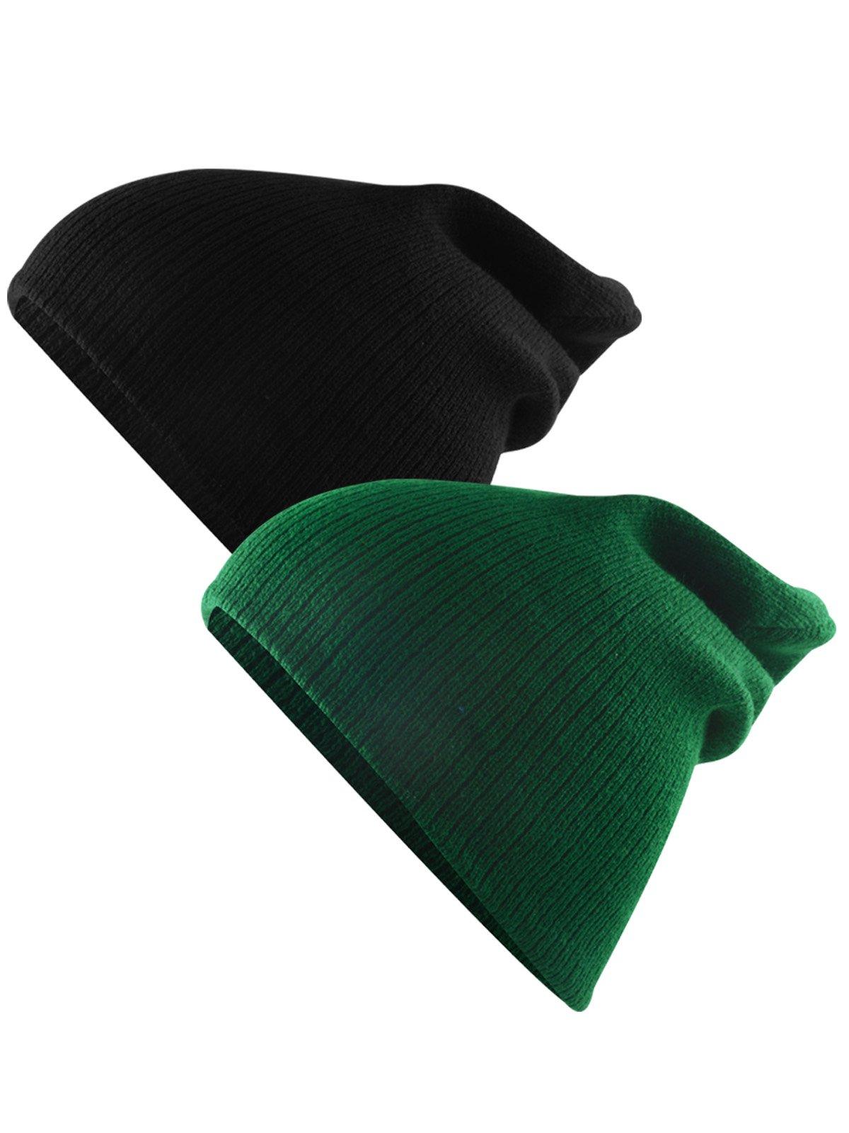 Century Star Unisex Kids Knit Cute Cuff Baggy Hip-hop Slouchy Hat Warm Children Beanie Boys Girls Black Dark Green 2 Pack