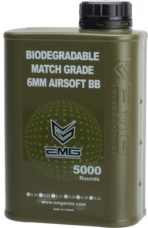Evike - EMG International Match Grade Biodegradable 6mm Airsoft BBS - 5000 Rounds (Weight: .20g)