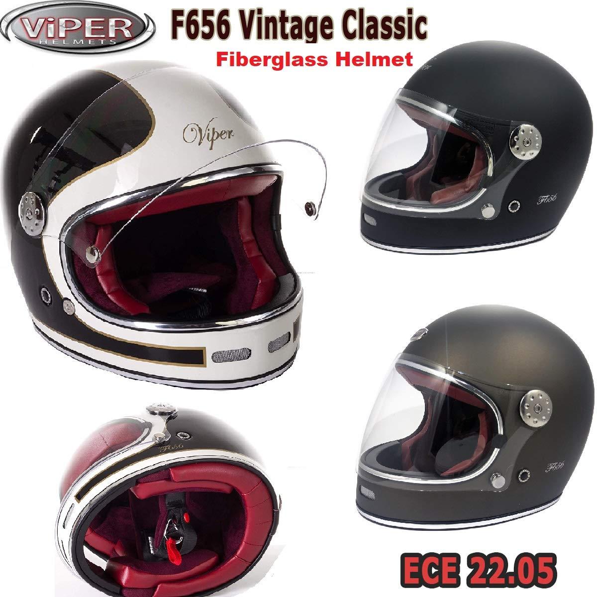 S 55-56 CM VIPER F656 INTEGRALE CASCO IN FIBRA DI VETRO STILE RETRO VINTAGE CLASSICO ECE 22-05 APPROVATO CUSTOM CHOPPER BOBBER BIANCA NERO CASCHI