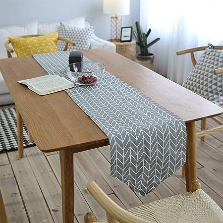 HINMAY Camino de mesa, camino de mesa de lino, diseño de geometría ...