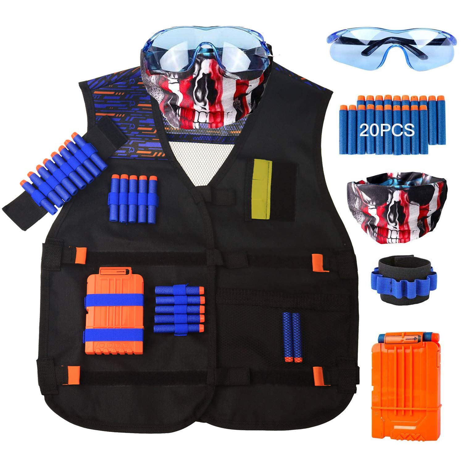 Kids Tactical Vest Kit for Nerf Guns N-Strike Elite Series with Refill Darts, Reload Clips, Tactical Mask and Protective Glasses for Children Boys Teens Gun War Toy Gifts for Birthday and Christmas