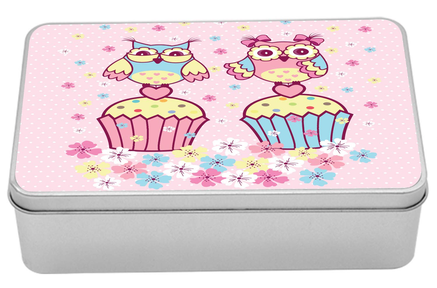 Ambesonne Owls Metal Box, 2 Owl Couples on Cupcakes Springtime Happiness Romantic Children Art, Multi-Purpose Rectangular Tin Box Container with Lid, 7.2'' X 4.7'' X 2.2'', Pale Pink Sky Blue Yellow by Ambesonne