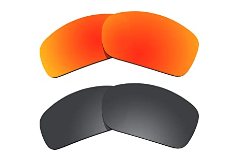 53f88b3735 Image Unavailable. Image not available for. Color  2 Pairs Polarized Lenses  Replacement for Oakley Scalpel Sunglasses Fire Red   Black