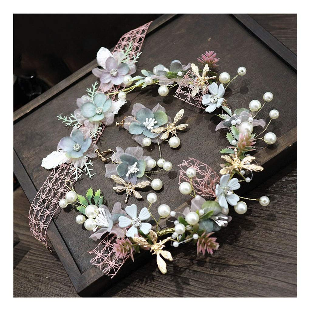 Wreath Flower Girl Headdress Handmade Earrings Neckwear Set Wedding Bridal Hair Accessories (Color : B)
