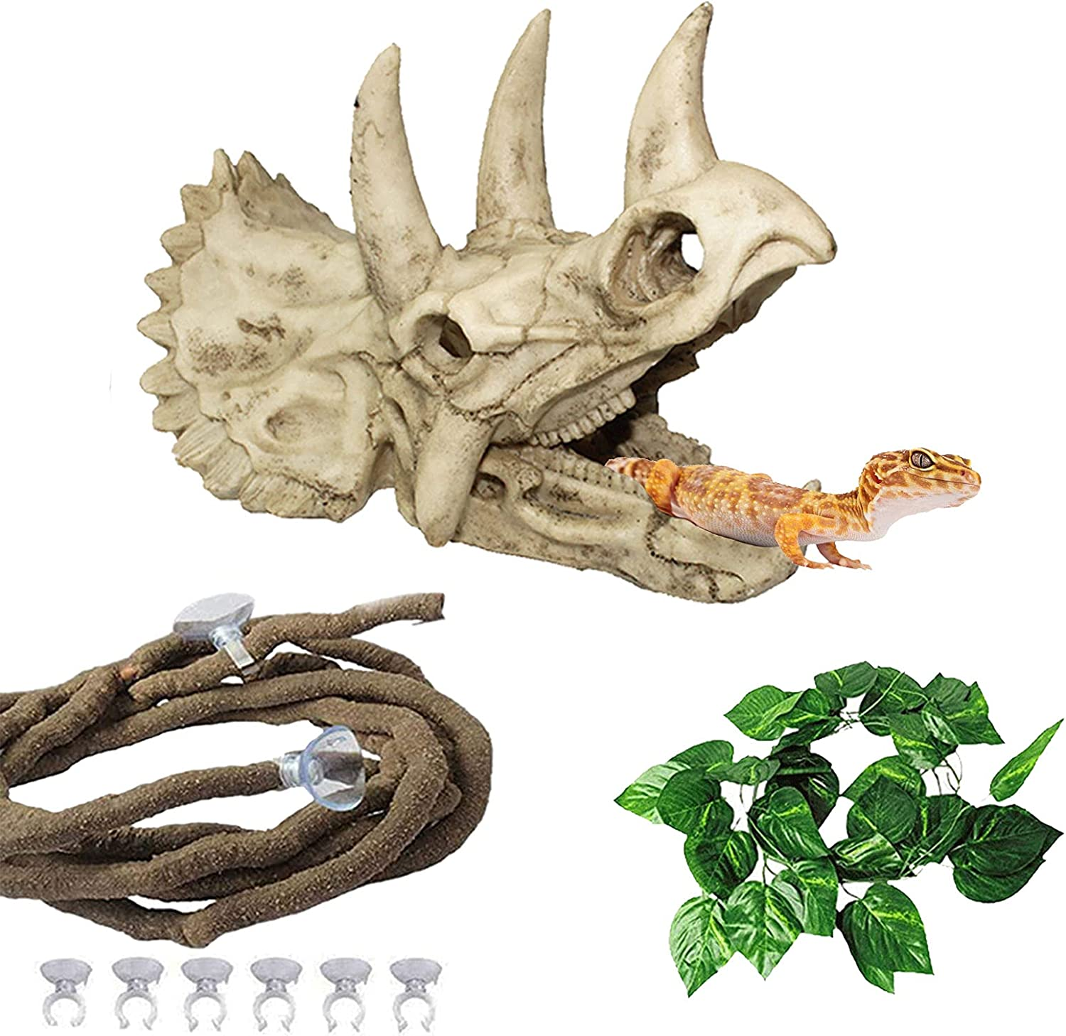 Tfwadmx Bearded Dragon Tank Accessories Resin Dinosaur Triceratops Skull Skeleton Reptiles Hideouts Cave Vines Leaves Aquarium Decorations for Lizards,Chameleon,Snake,Spider,Gecko