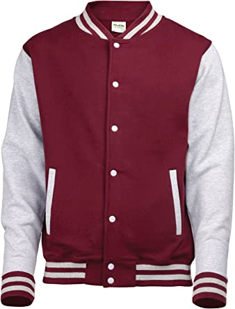 Awdis Unisex Varsity Jacket XS Burgundy // Heather Gray