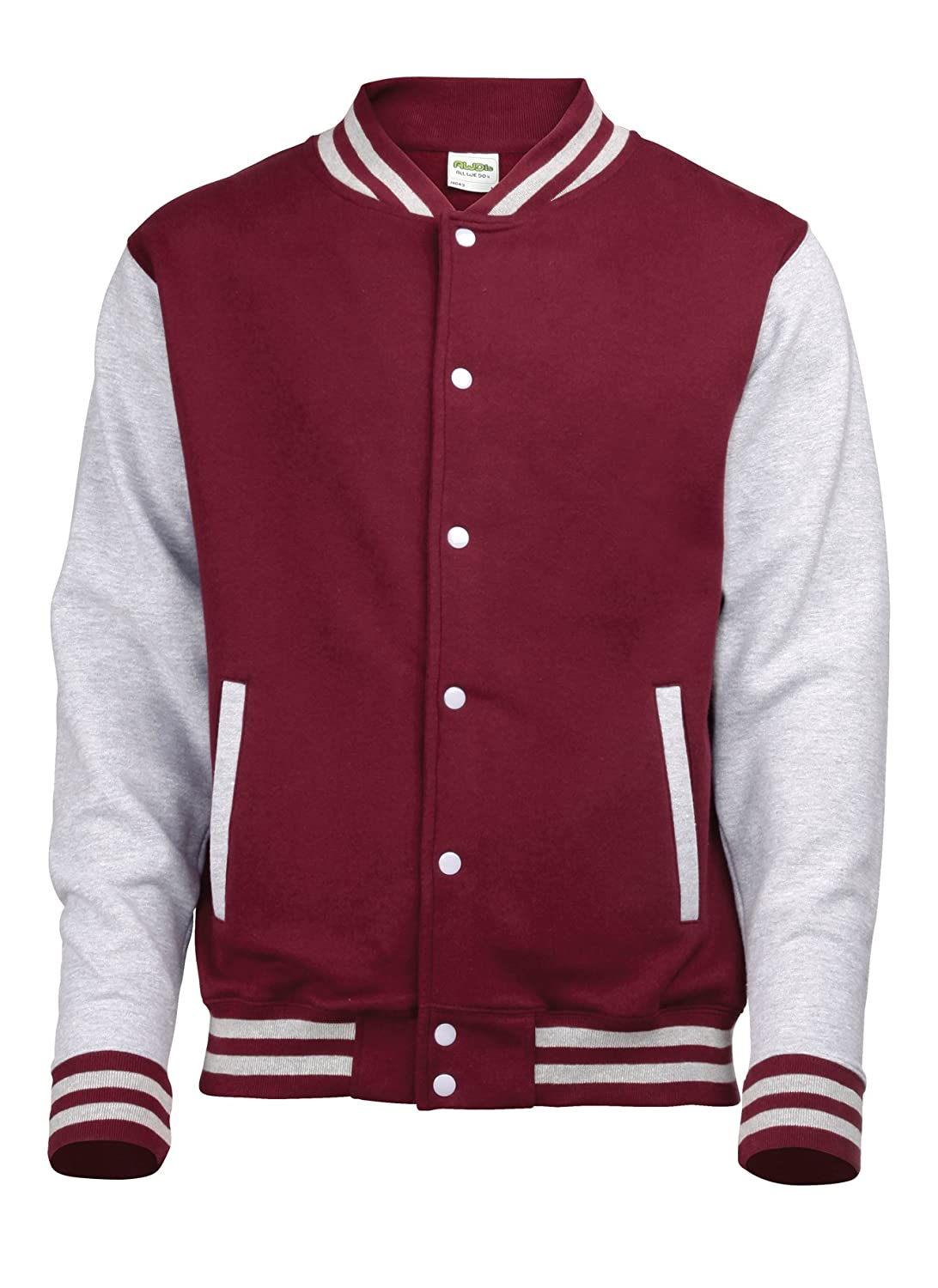 Awdis Varsity Jacket, Sweat-Shirt Homme Multicolored (Burgundy/Heather Grey)