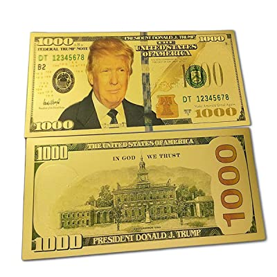 blinkee 1000 USD Commemorative President Donald Trump Collectible Gold Plated Fake Bank Note: Toys & Games