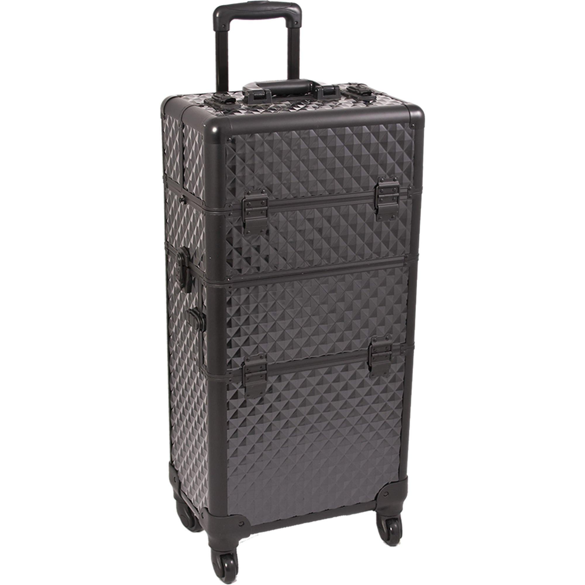 SUNRISE Makeup Case on Wheels 2 in 1 Professional Organizer I3461, 6 Trays, 4 Wheel Spinner, Adjustable Drawer Dividers, Black Diamond