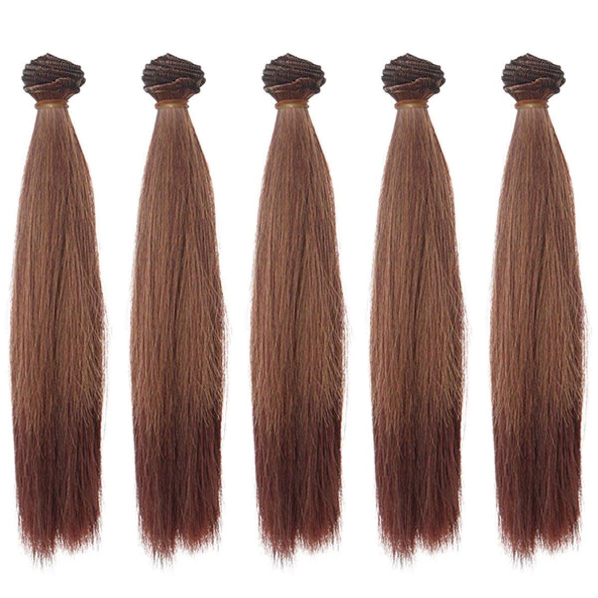5pcs/lot 25*100cm Straight Light Blonde High Temperature Hair Wefts for DIY BJD Blythe Pullip Doll's Wig Handcraft Materials Leeswig 4336857421