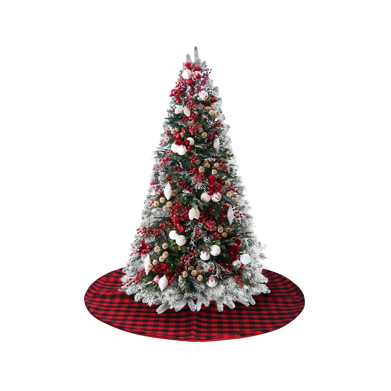 EDLDECCO Small Version in 36 inch Plaid Christmas Tree Skirt Red