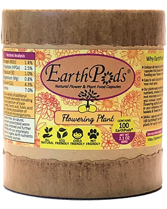 EarthPods Best Bloom Flowering Plant Food – Easy Organic Fertilizer Spikes – 100 Capsules – Boost Flower Buds (Great for Citrus, Fruit, Rose, Bougainvillea, Hibiscus, Plumeria, Bulbs, Ecofriendly)