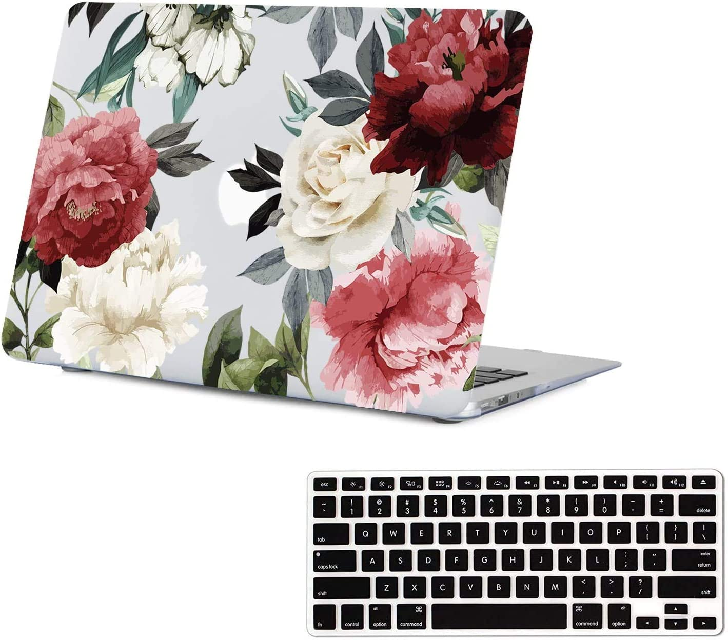 Lapac MacBook Air 13.3 Inch Case (A1369 & A1466, Older Version 2010-2017 Release), Clear Vintage Peony Flower Pattern Hard Shell Case with Keyboard Cover for A1466/A1369, MacBook Air Protective Case