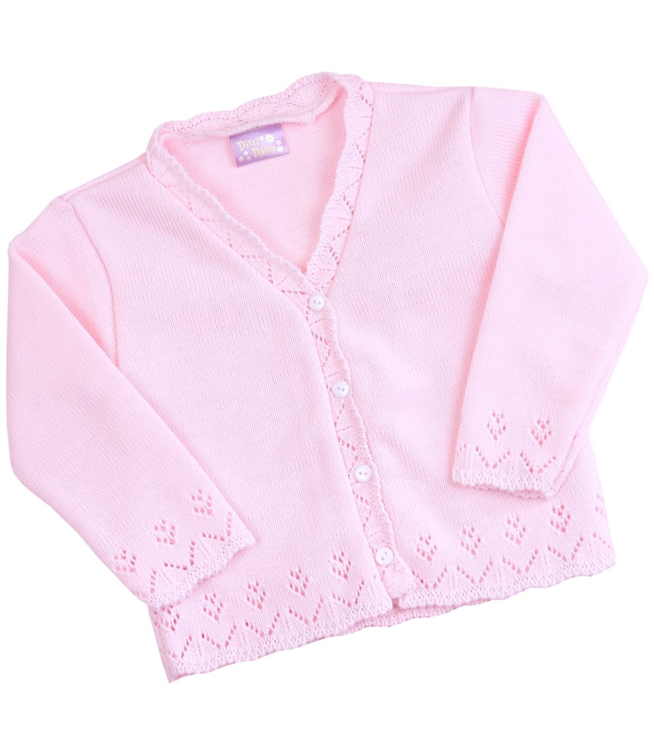 BabyPrem Girls Boys Cardigan White Pink Knitted Clothes Toddler 2 - 6 Years BEE022