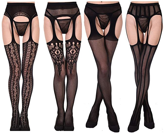 d9e426c78 Toptim Womens Fishnet Thigh-High Stockings Tights Suspender Pantyhose Socks  (Sets of 4)