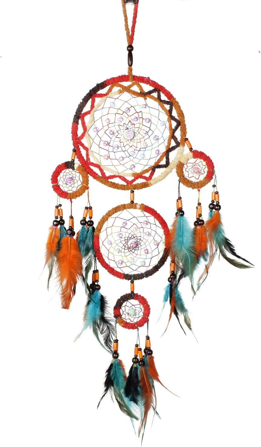 LuLuMZ Boho Dream Catcher for Bedroom Handmade Wooden Beads and Feather Wall Hanging for Kids Girls, Home Decoration, Art Ornament Wedding Party Blessing Festival Gift (Colorful A2)