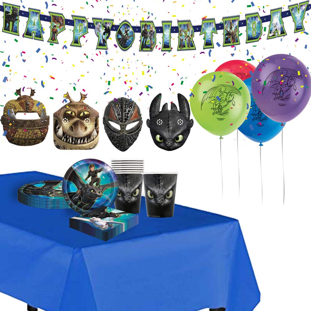 How To Train Your Dragon birthday party supplies Set of masks, balloons, large joint banner, paper plates, paper cups, table plastic cover and table napkins
