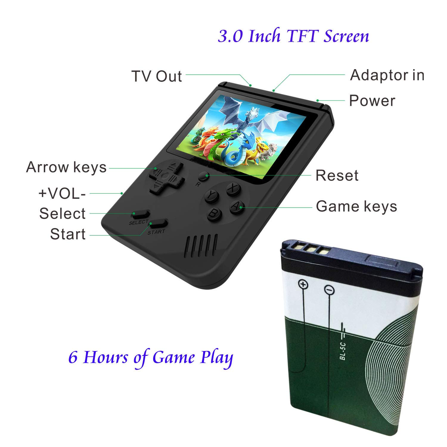 Handheld Games Console for Kids Adults - Retro Video Games Consoles 3 inch Screen 168 Classic Games 8 Bit Game Player with AV Cable Can Play on TV (Black) by Chilartalent (Image #3)