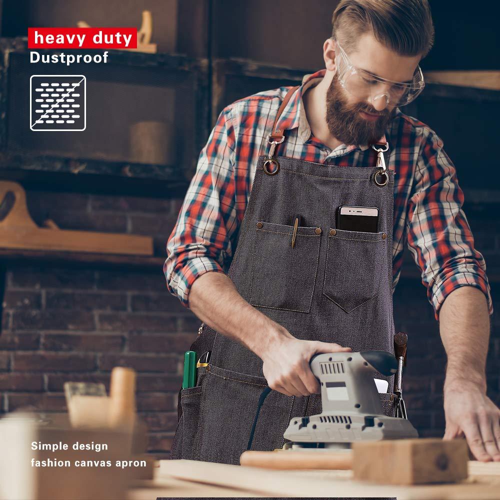 UNISI Denim Work Aprons Jean Bib Chef With Pockets Cross Back Leather Straps Durable Shop Tools Apron For Women /& Men Quick Release Buckle Shoulder Straps Adjustable M to XXL Polished Black