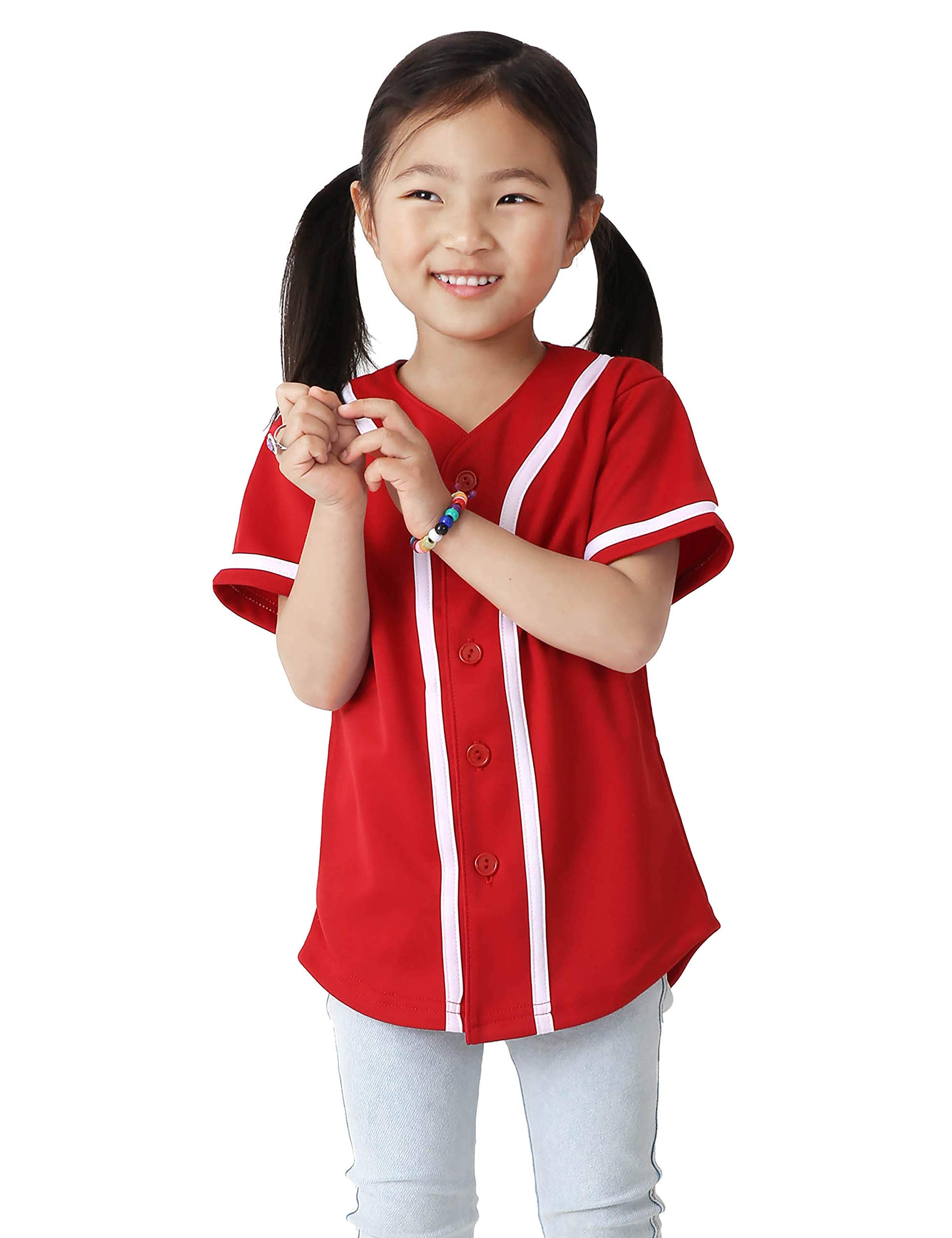 Ma Croix Kids Premium Baseball Jersey Active Button Shirt Team Uniform Little League (6 Junior, 5up01_red.WHI) by Ma Croix