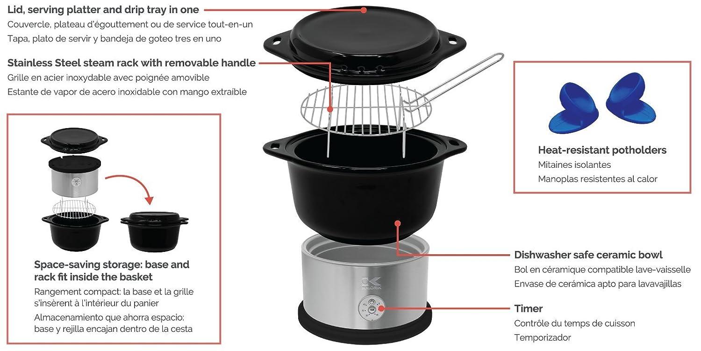 Amazon.com: Kalorik All Natural BPA Free Ceramic Food Steamer, DG 44815 BK, Prepare Healthy Meals with Smart Digital One-touch Control, 4.5 Liter, ...