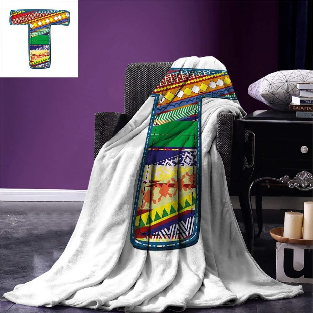 color07 60 x36  SINOVAL Letter T Warm Microfiber Fashion Blanket Caps T with Flourishing Fragrance Botanical Design and Ladybug Girls Room Print Artwork Image£¬Multicolor, Green Multicolor