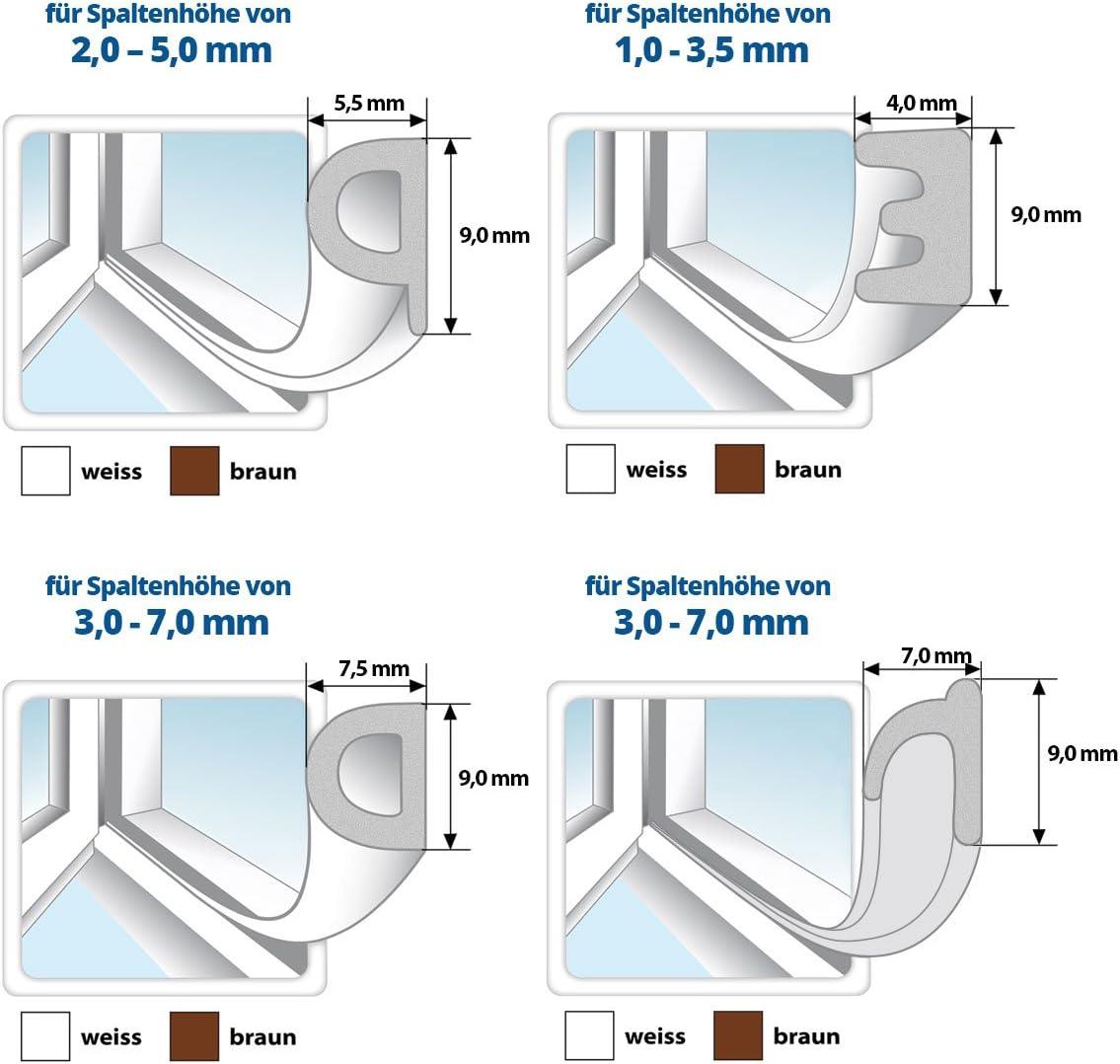 Gummidichtung Dichtungen aus Gummi T/ür Fenster Profildichtung Universal Dichtband Holzzargendichtung Fl/ügelfalzdichtung Dichtungsprofil 5 Meter braun