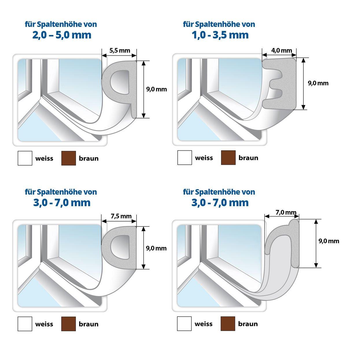 Fensterdichtung T/ürdichtung selbstklebend Gummi PROFIL Dichtung Dichtungsband Profildichtung Fenster T/ür 30m Gummidichtung WEISS E-Profil